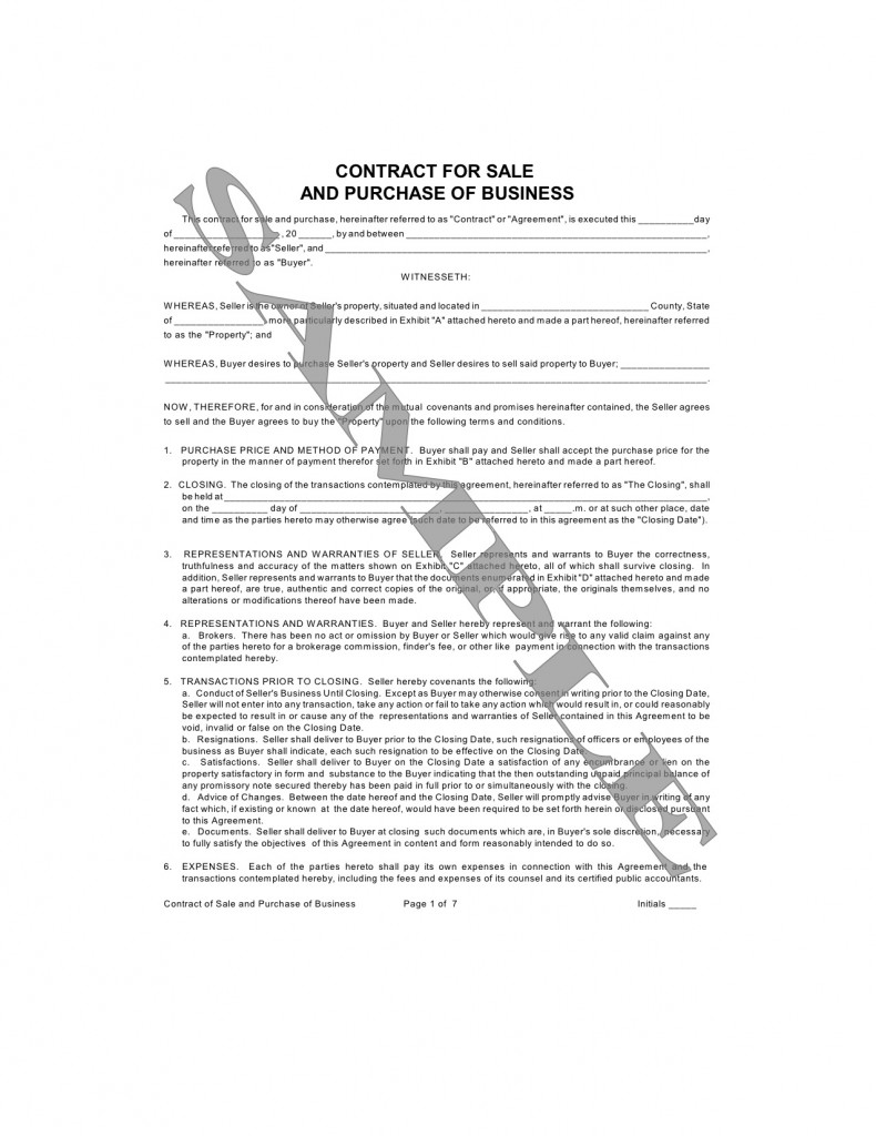 Contract for Sale and Purchase of Business – Sale of Business Agreement