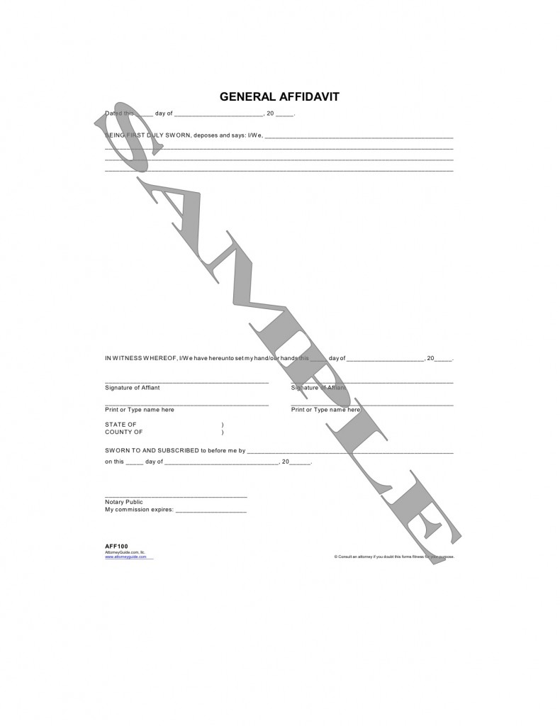 Form Categories  Blank Affidavit