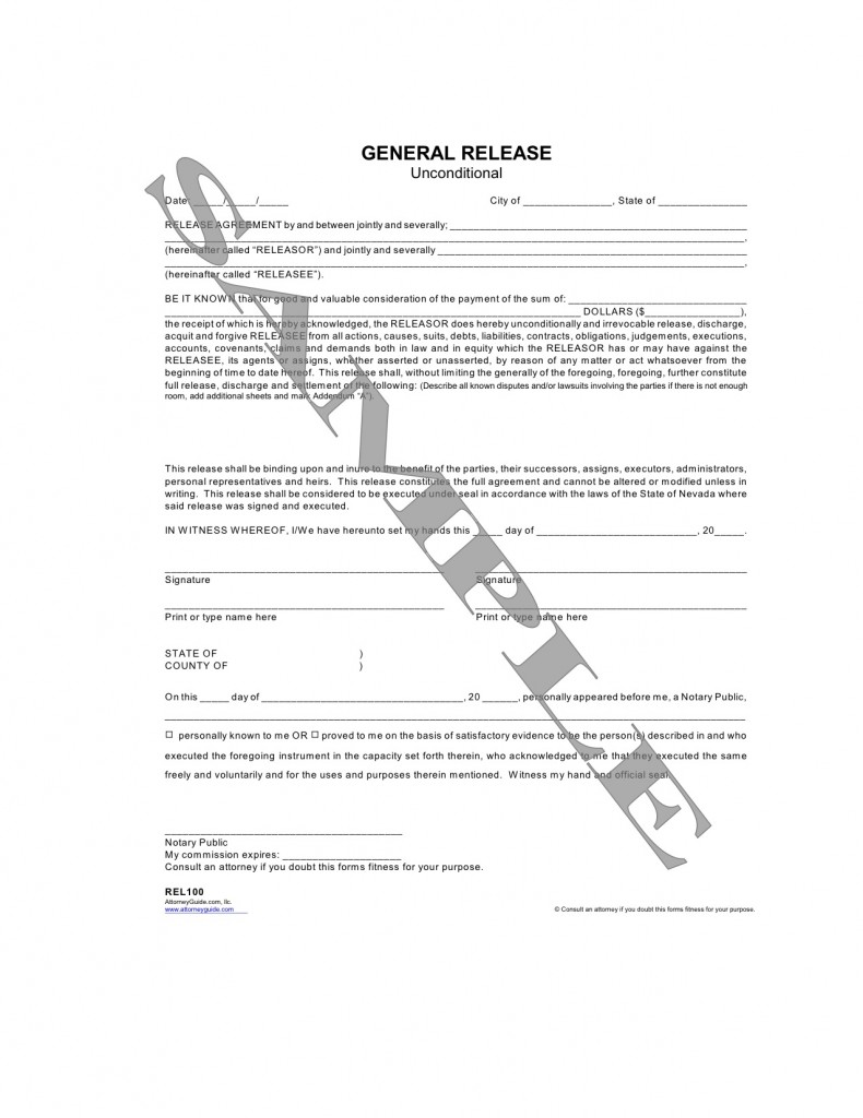 General Release Unconditional – General Release Forms