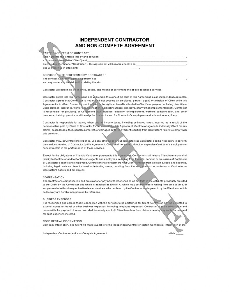 non compete clause independent contractor Template – Independent Agreement Contract