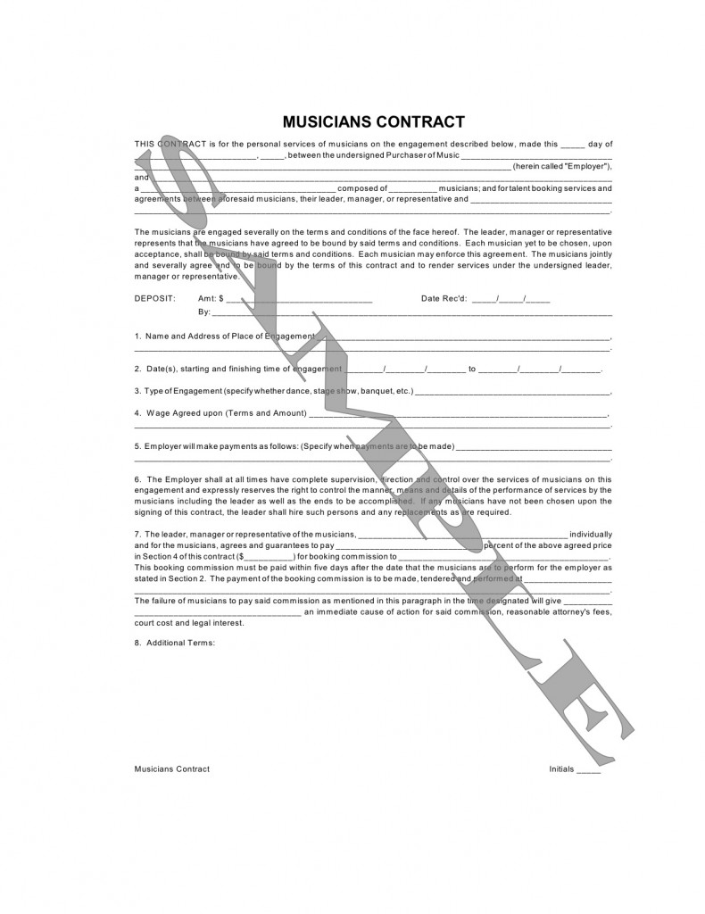 Musician contract musician performanceoice template for Musicians contract template
