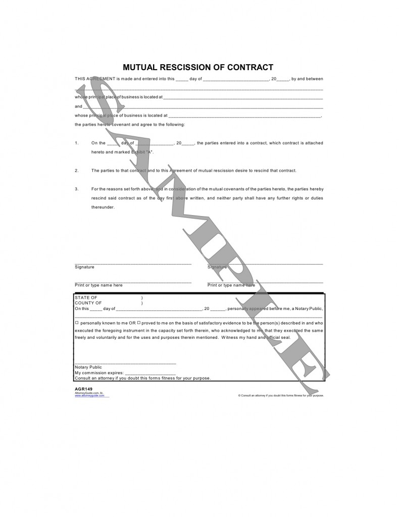 Form Categories  Mutual Agreement Contract Template