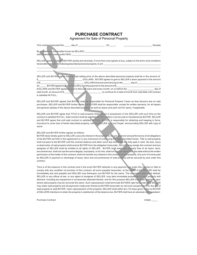 Purchase Contract Agreement for Sale of Personal Property – Property Purchase Agreement