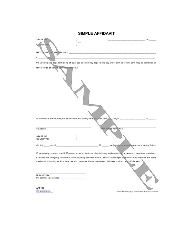 Form Categories  Affidavit Of Sworn Statement