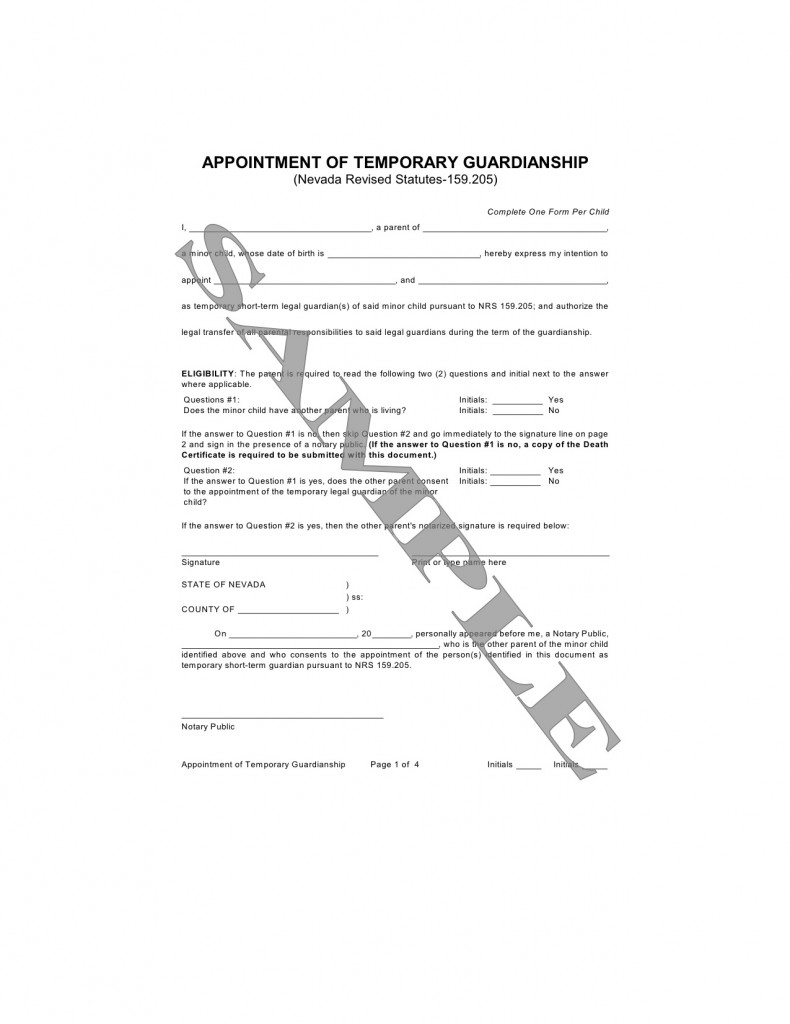 Statement of Guardianship – Temporary Guardianship Forms